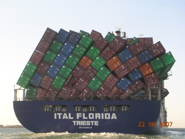 Overloaded container ship